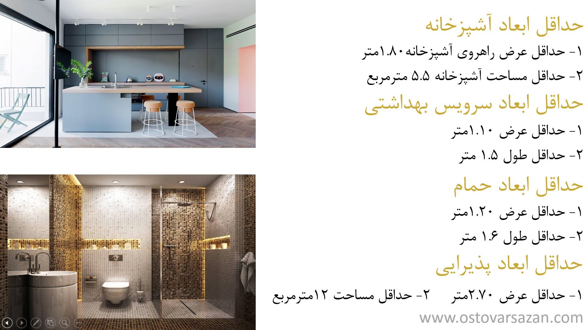 حداقل ابعاد فضاهای معماری در طراحی پلان