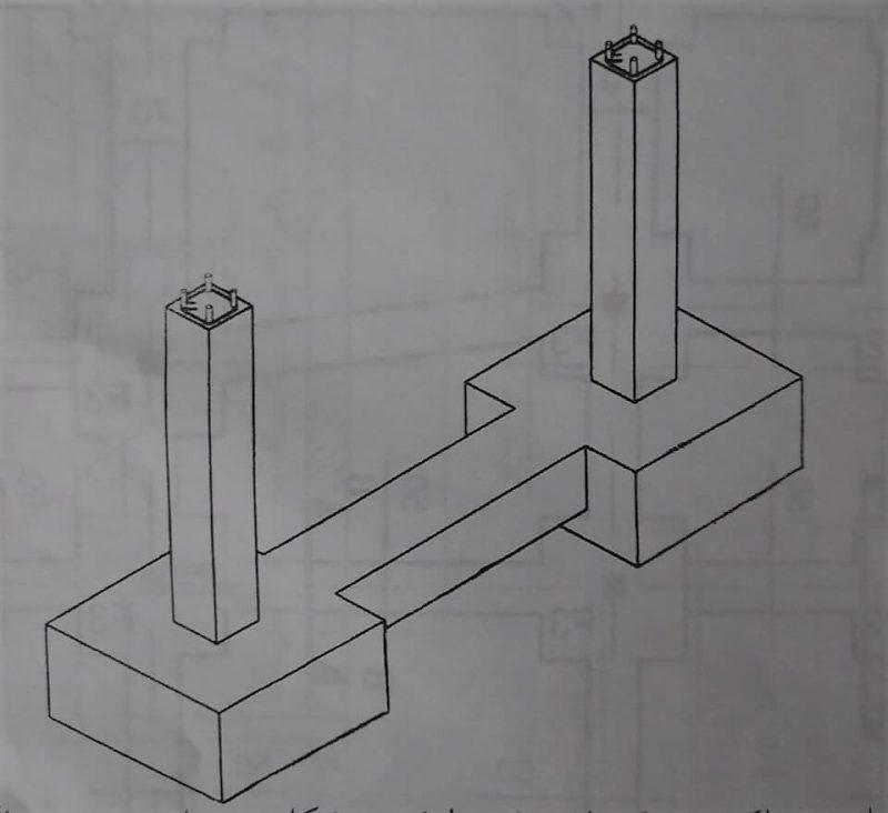 اتصال دو فونداسیون منفرد توسط شناژ رابط - آرماتور بندی فونداسیون - استوارسازان