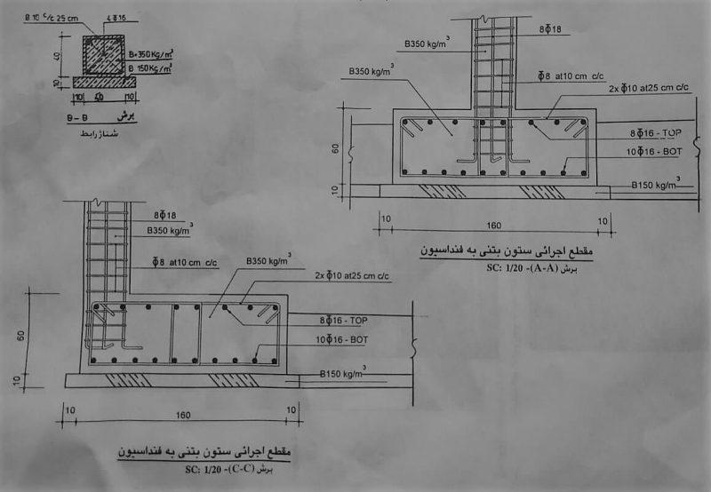 جزئیات اجرایی ستون بتنی به فونداسیون - آرماتور بندی فونداسیون - استوارسازان