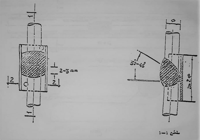 نحوه اتصال نوک به نوک با پشتبند دو میلگرد در حالت قائم - وصله آرماتورها - استوارسازان