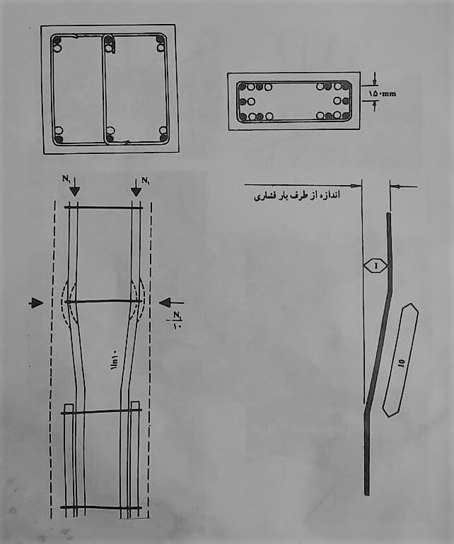 شیب میلگرد خم شده - آرماتور بندی ستون - استوارسازان