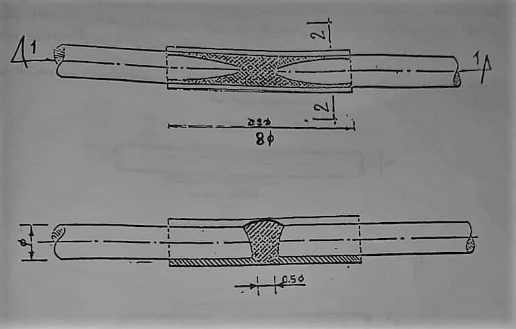 اتصال نوک به نوک با پشتبند برای فولاد های اصلاح شده - وصله آرماتورها - استوارسازان