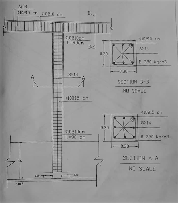 آرماتور گذاری شناژ افقی فوقانی و نحوهی اتصال آن را با آرماتور های شناژ قائم - شناژ قائم در ساختمان - استوارسازان