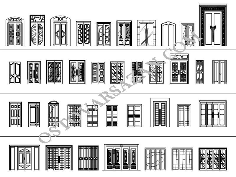 بلوک های در های کلاسیک اتوکد