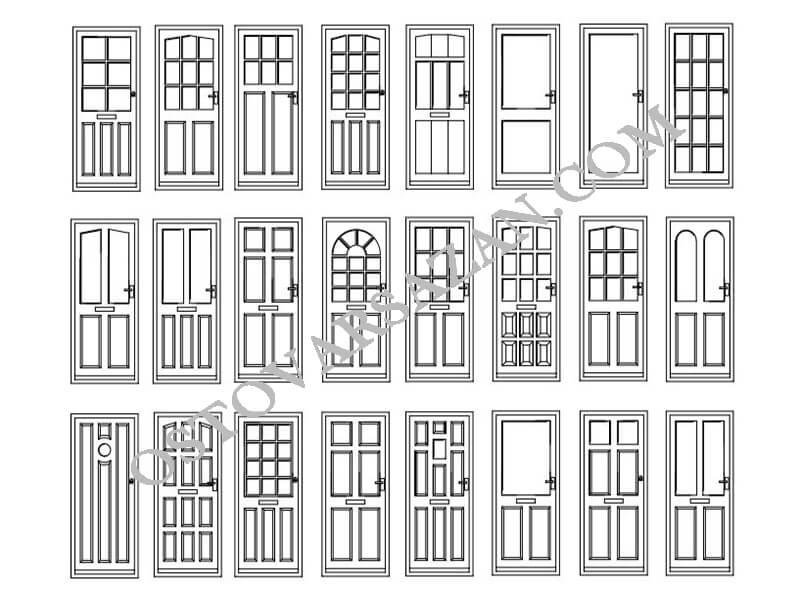 بلوک های در های چوبی اتوکد