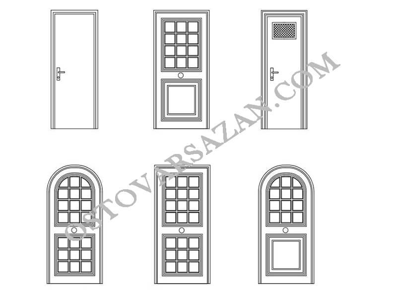 بلوک های در های داخلی خانه اتوکد