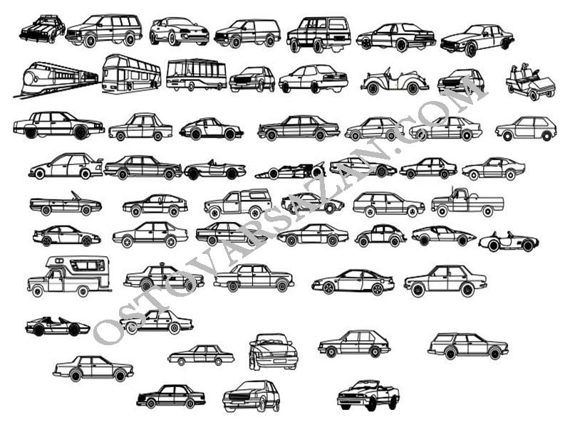 بلوک های انواع وسایل نقلیه از نماهای مختلف اتوکد