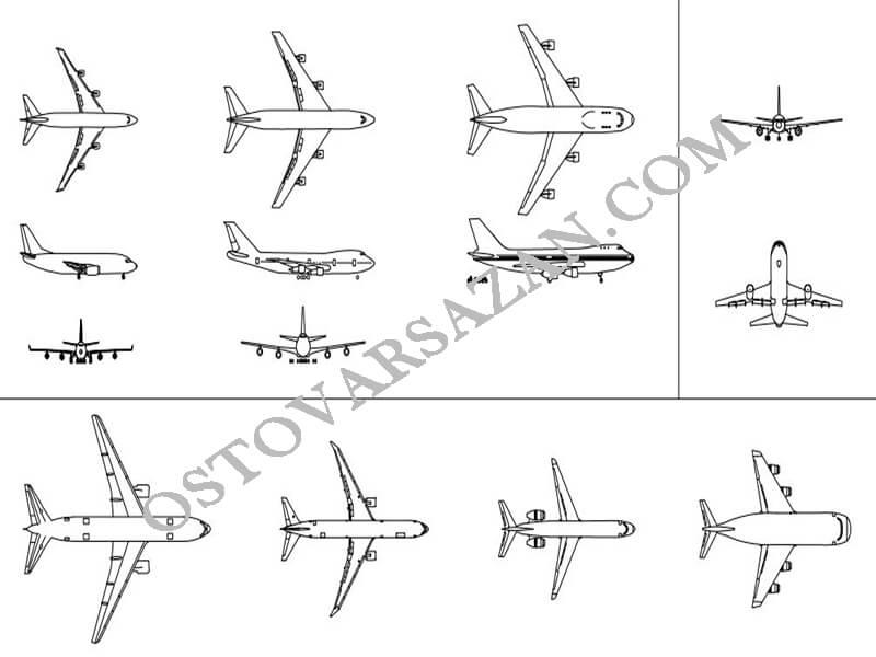 بلوک های هواپیمای مسافربری اتوکد