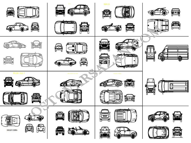 بلوک های انواع اتومبیل در اتوکد