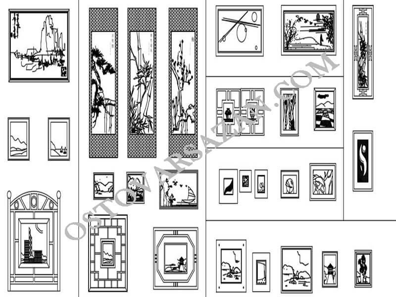 بلوک های تابلو نقاشی در اتوکد
