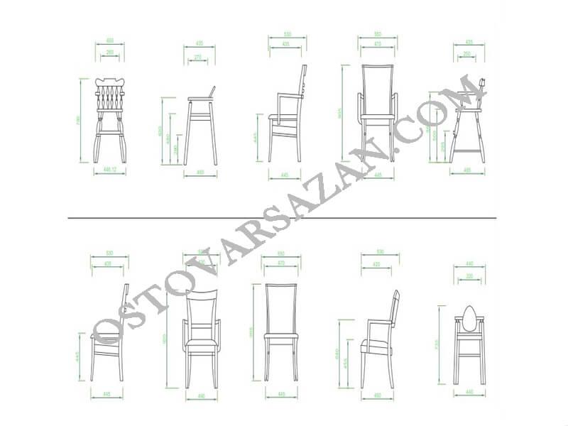بلوک های انواع صندلی اتوکد