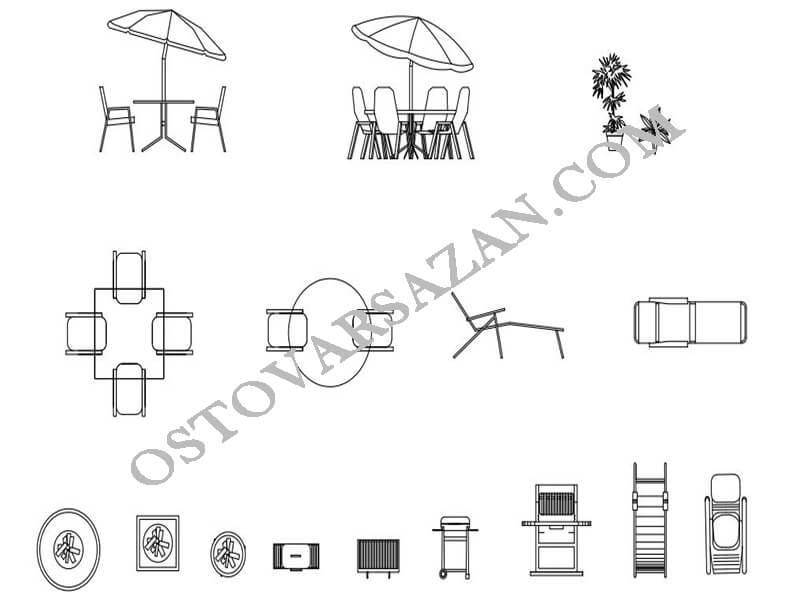 بلوک های میز و صندلی ساحل اتوکد
