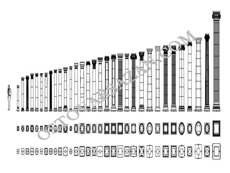 بلوک های مجسمه رومی اتوکد