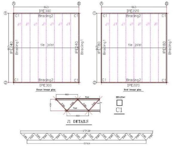 نقشه تیرریزی - سقف روفیکس - استوارسازان