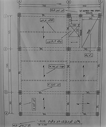 پلان تیر ریزی سقف زیر زمین - آموزش نقشه خوانی تیر های بتنی - استوارسازان