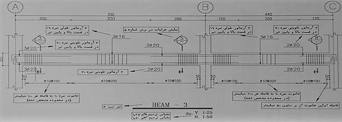 جزئیات آرماتور بندی تیر های اصلی - آموزش نقشه خوانی تیر های بتنی - استوارسازان