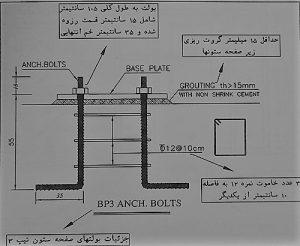 جزئیات اجرای صفحه ستون و بولت ها - نقشه خوانی ستون های بتنی - استوارسازان