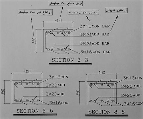 مقاطع مختلف تیر ها - آموزش نقشه خوانی تیر های بتنی - استوارسازان