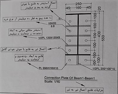 جزئیات اتصال فلنج اتصال تیر به تیر - نقشه خوانی سوله - استوارسازان