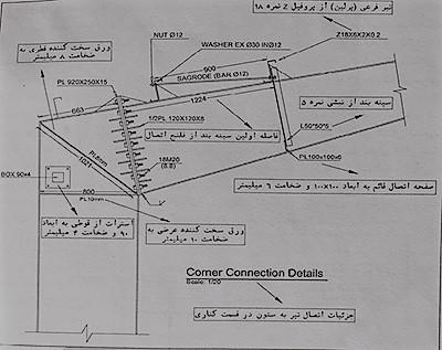 جزئیات اتصال تیر به ستون در قسمت کناری - نقشه خوانی سوله - استوارسازان