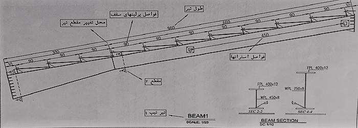 جزئیات تیر اصلی - نقشه خوانی سوله - استوارسازان