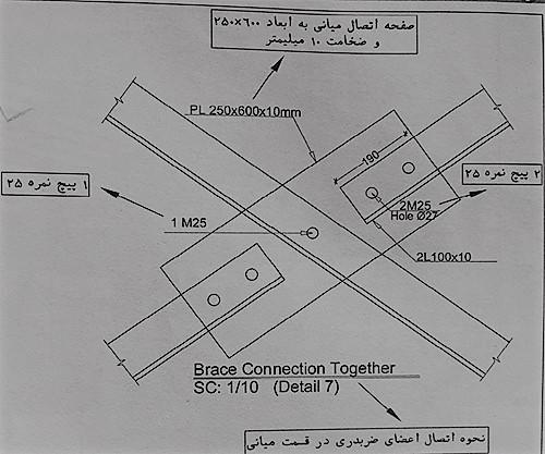 جزئیات اتصال میانی اعضای قطری - نقشه خوانی سوله - استوارسازان