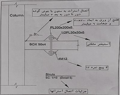 نمای اتصال فلنجی استرات ها - نقشه خوانی سوله - استوارسازان