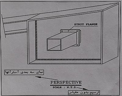 نمای سه بعدی استرات های طولی - نقشه خوانی سوله - استوارسازان