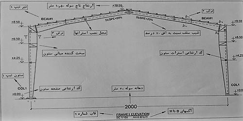 نمای قاب میانی سوله - نقشه خوانی سوله - استوارسازان